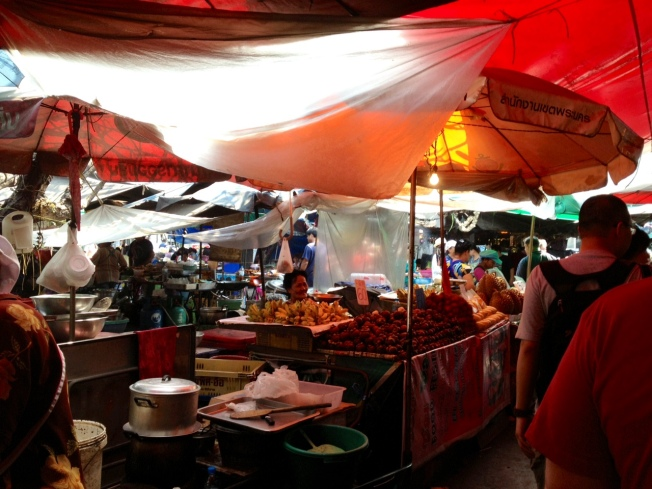a typical street market in Bangkok