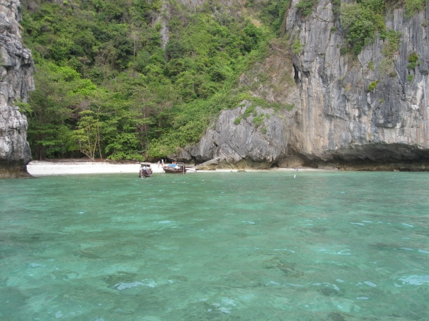 """Blue View's Beach"" in Maya Bay. Picnic lunches there for surface intervals...doesn't get any better!"