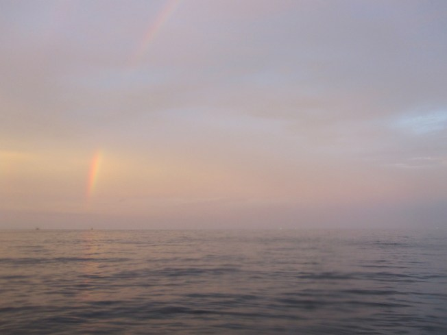Surfaced from our twilight dive to a beautiful sunset and rainbow combo! Gorgeous!